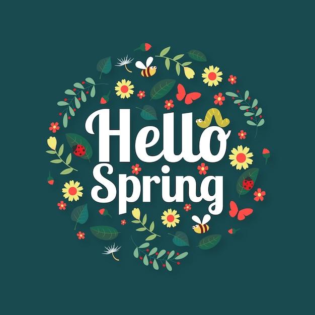 Hola concepto de fondo de pantalla de primavera vector gratuito