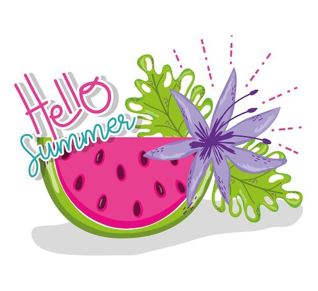 Hola dibujos animados de verano Vector Premium