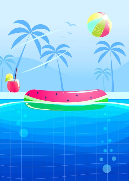Hola diseño de banner fiesta de verano. piscina en el parque acuático. vector gratuito