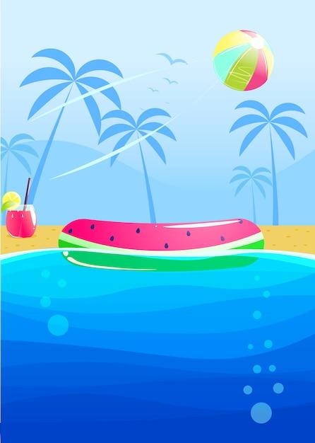 Hola diseño de banner fiesta de verano vector gratuito