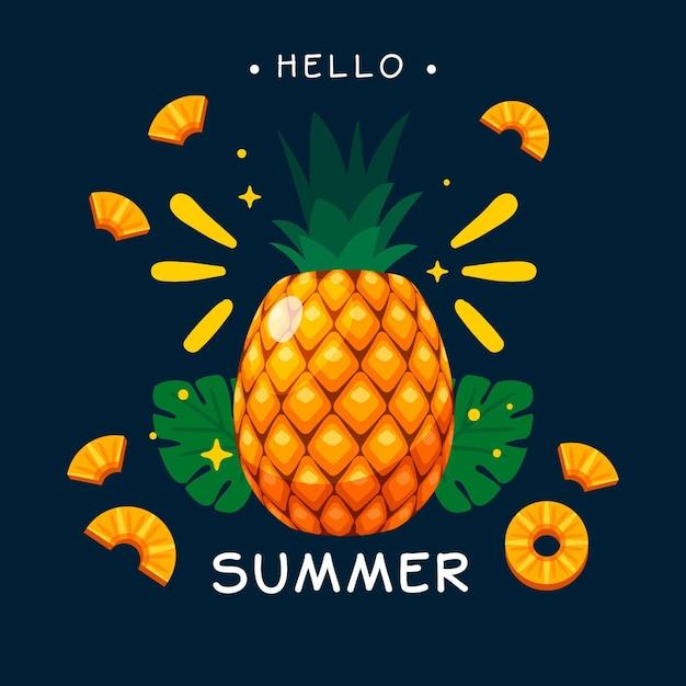 Hola diseño plano de verano con piña vector gratuito