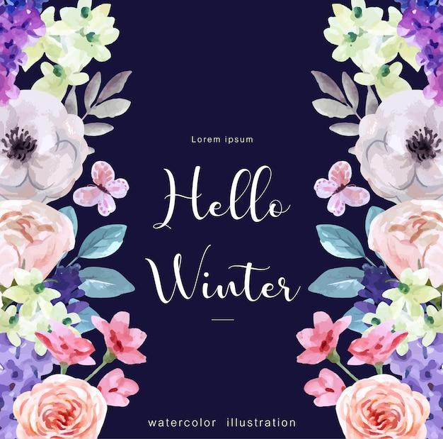 Hola fondo acuarela de invierno con atributos de invierno Vector Premium