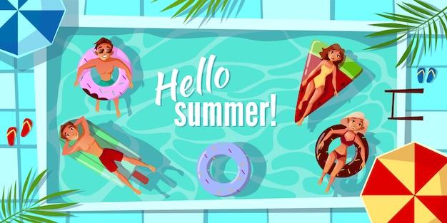 Hola ilustración de verano para tarjeta de felicitación o cartel estacional. vector gratuito