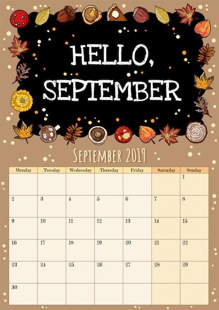 Hola inscripción de pizarra de septiembre lindo y acogedor higge 2019 calendario mensual con decoración de otoño Vector Premium