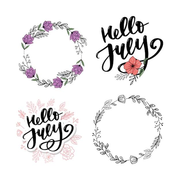 Hola julio letras de impresión Vector Premium