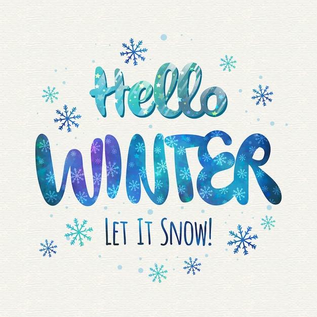 Hola letras de concepto de invierno vector gratuito