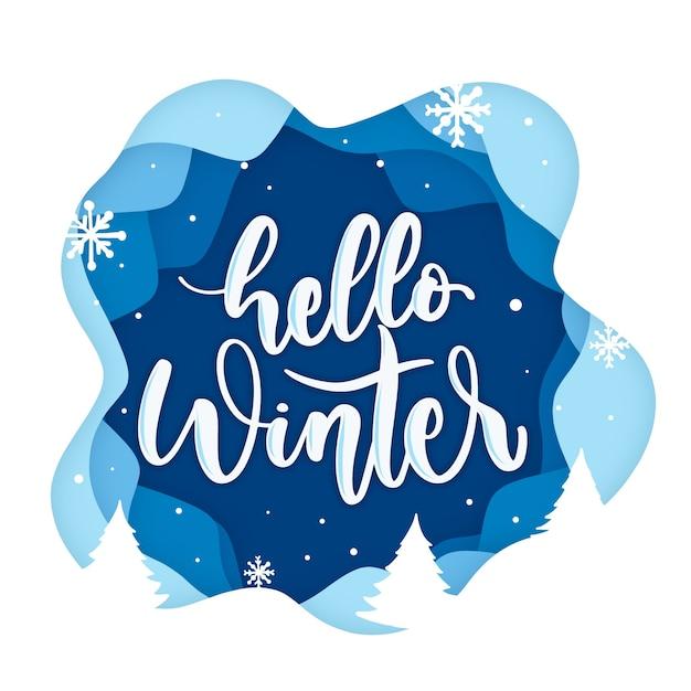 Hola letras de invierno sobre fondo azul con copos de nieve Vector Premium