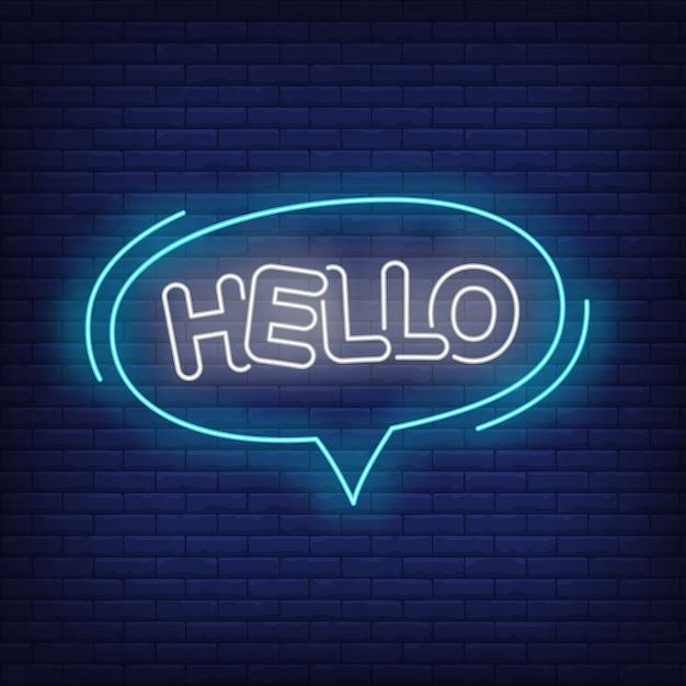 Hola letras de neón en el bocadillo de diálogo. vector gratuito