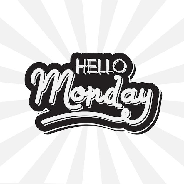Hola lunes - letras vector gratuito
