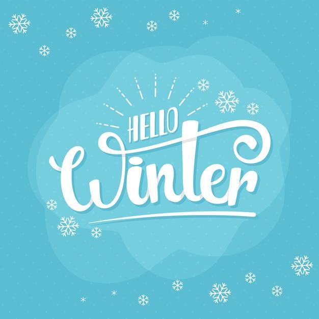 Hola mensaje de invierno en azul vector gratuito