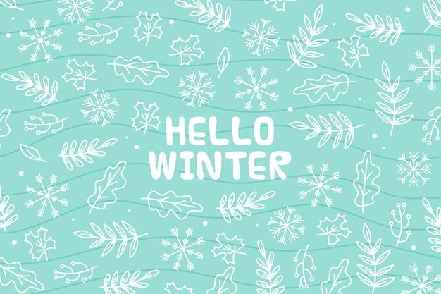 Hola mensaje de invierno sobre fondo ilustrado Vector Premium