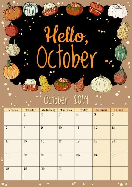 Hola octubre lindo y acogedor higge 2019 calendario mensual con decoración de calabazas Vector Premium