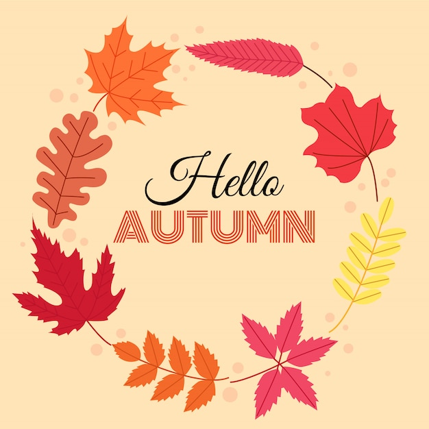 Hola otoño. caen las hojas en forma de círculo. Vector Premium
