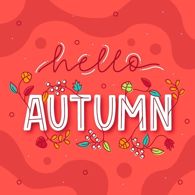 Hola otoño - letras vector gratuito