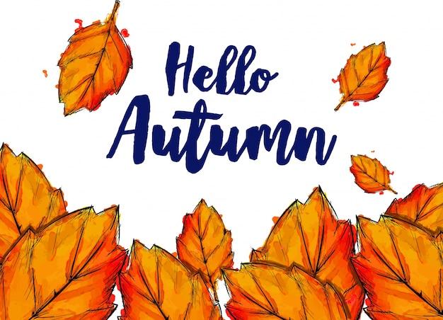 Hola otoño pintura tipográfica acuarela otoño hojas | Descargar ...