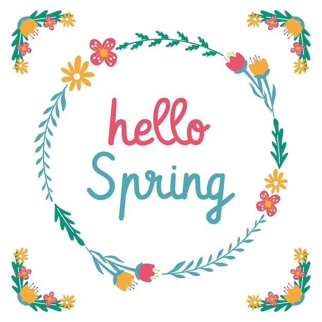 Hola primavera flor hoja guirnalda cotizaciones   Descargar Vectores ...