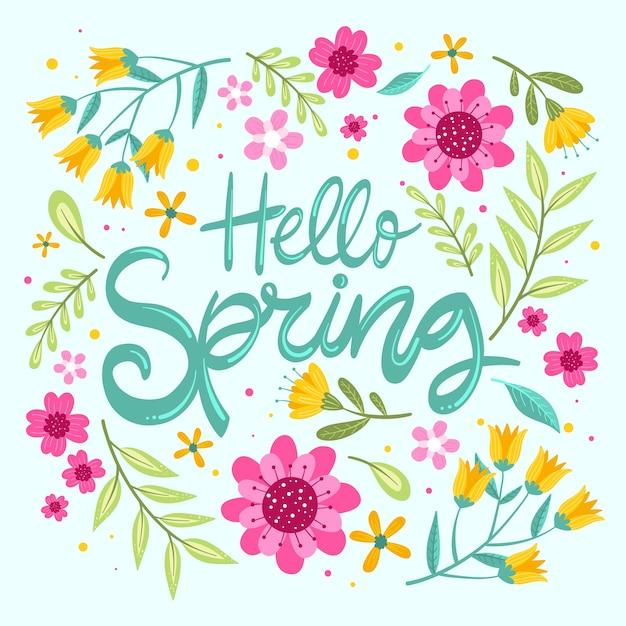 Hola primavera con flores de colores vector gratuito