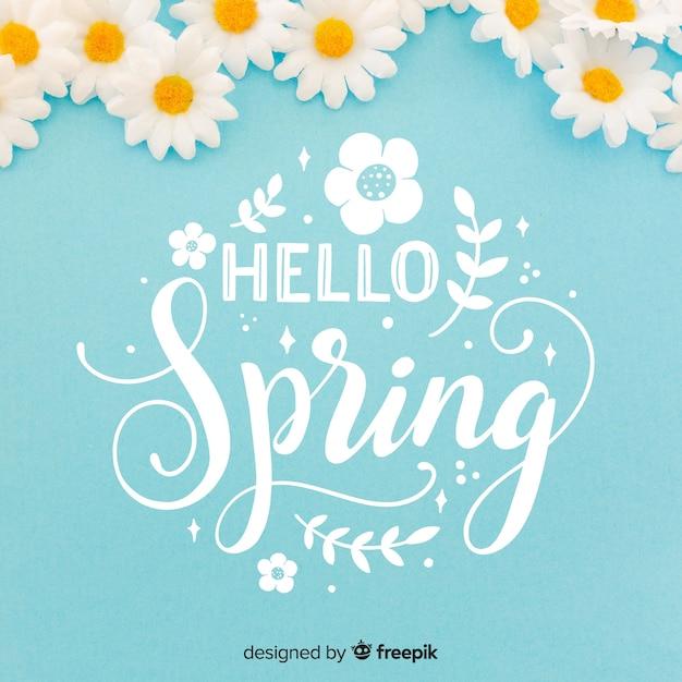 Hola primavera vector gratuito