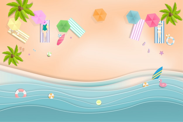 Hola summer beach party, estilo arte papel. Vector Premium