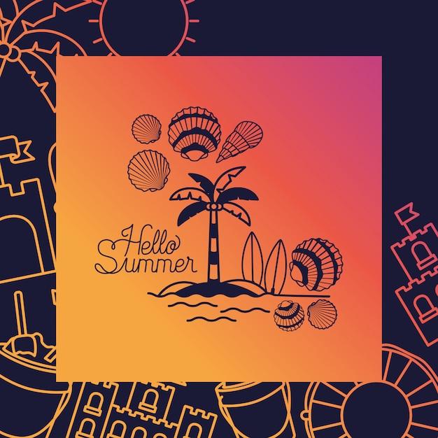 Hola tarjeta de verano con marco. vector gratuito