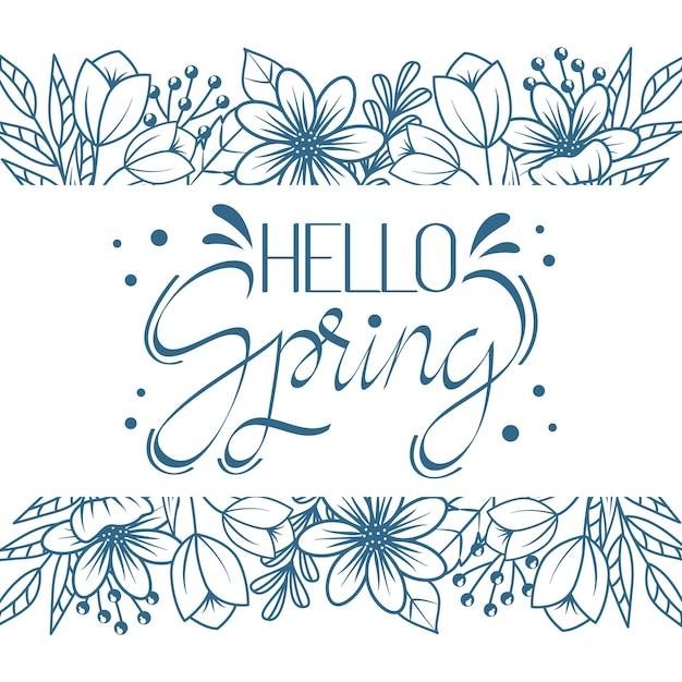 Hola tema de letras artísticas de primavera vector gratuito