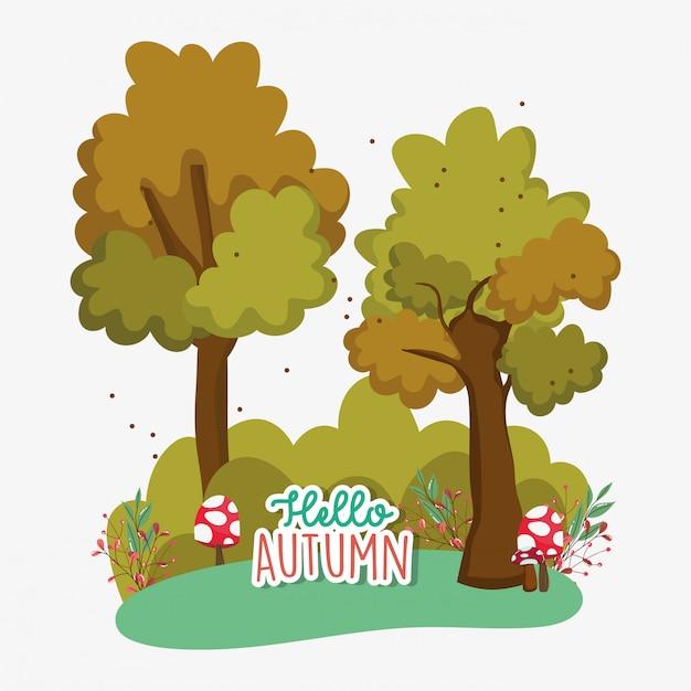 Hola temporada de otoño plana Vector Premium