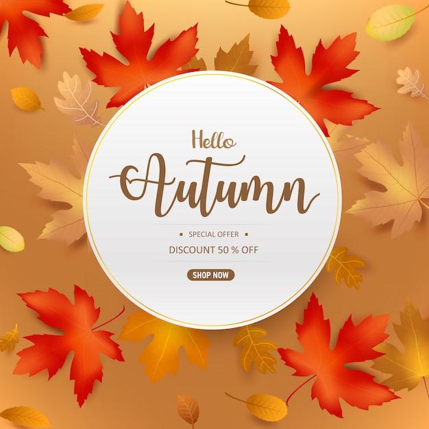 Hola texto de otoño en marco de círculo con hoja seca Vector Premium