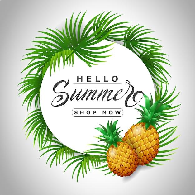 Hola tienda de verano ahora letras en círculo con piñas. oferta o publicidad de venta vector gratuito
