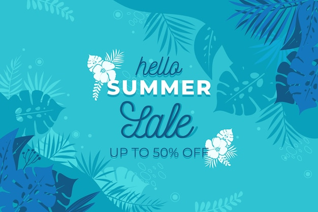 Hola venta de verano en diseño plano vector gratuito
