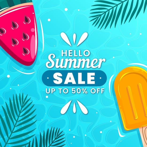 Hola venta de verano con paletas vector gratuito