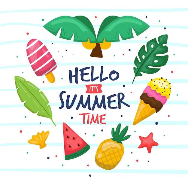 Hola verano dibujado a mano vector gratuito