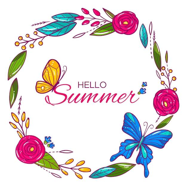 Hola verano con flores y mariposas. vector gratuito