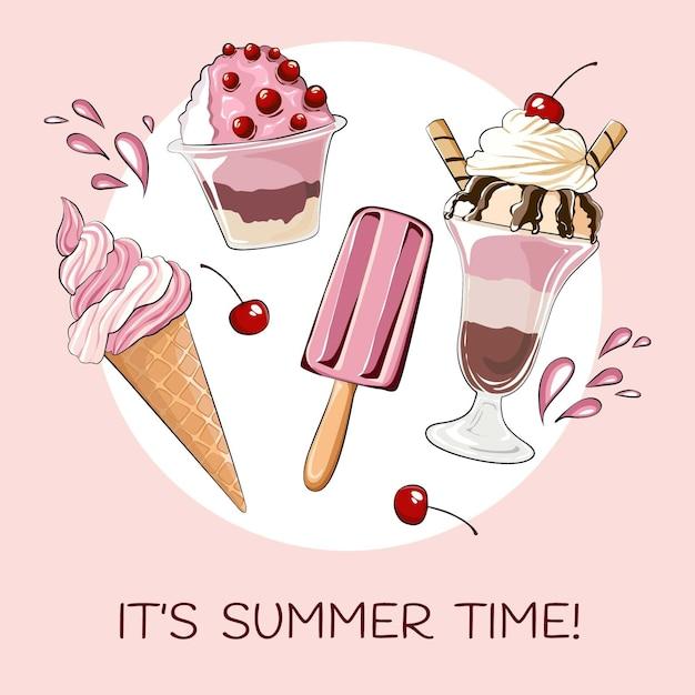 Hola verano con helado y cerezas. Vector Premium