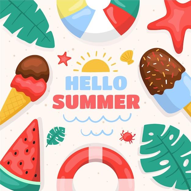 Hola verano con helado vector gratuito