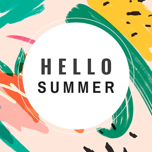 Hola verano memphis diseño vectorial vector gratuito