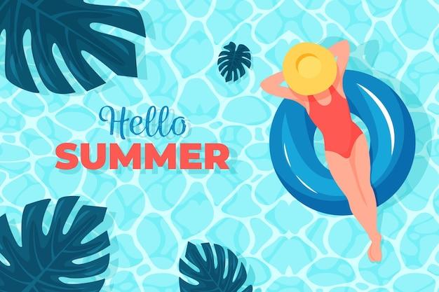 Hola verano con mujer en agua y hojas Vector Premium