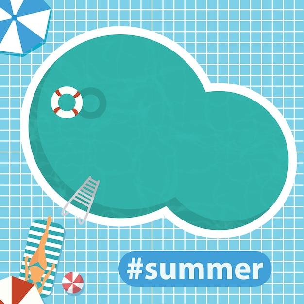 Hola verano. piscina. ilustración vectorial plana Vector Premium