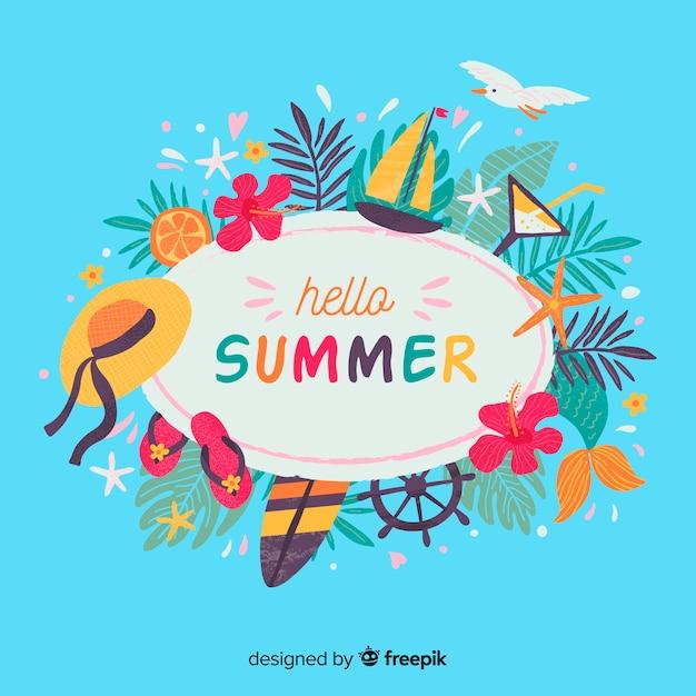 Hola verano vector gratuito