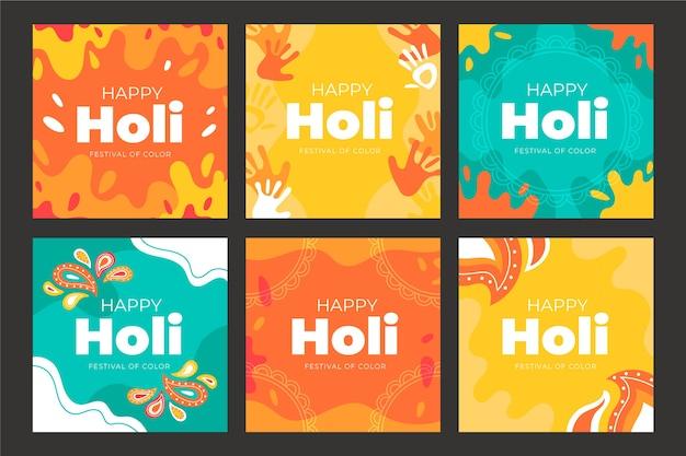 Holi festival instagram post collection vector gratuito