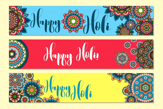 Holi holiday banners horizontales Vector Premium