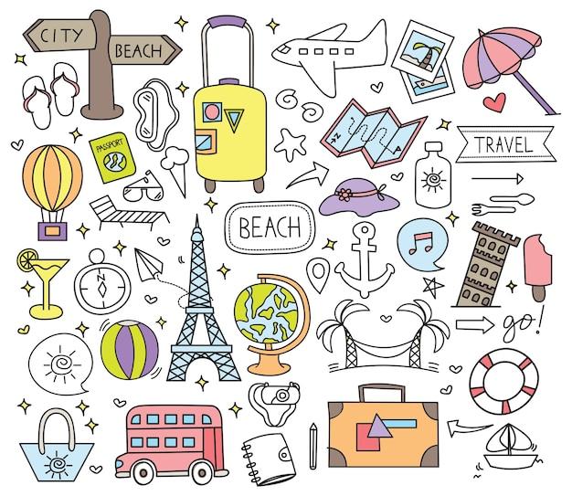 Holiday travel doodle conjunto de ilustración vectorial Vector Premium