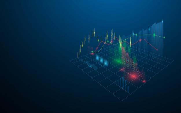 Holograma virtual del mercado de valores de estadísticas, gráfico y gráfico sobre fondo azul oscuro Vector Premium