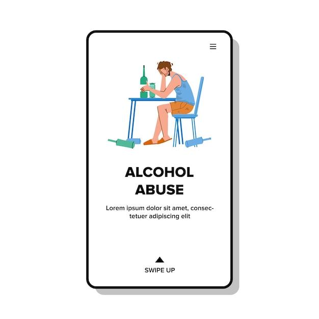 Hombre de abuso de alcohol sentarse a la mesa con bebidas Vector Premium