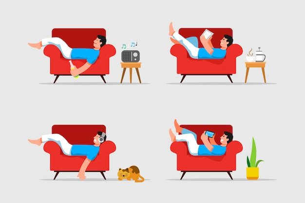 Hombre acostado y relajante en la ilustración de vector de sofá Vector Premium