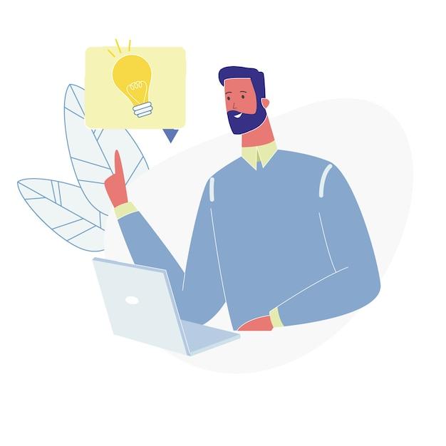 El hombre adulto se sienta con la computadora portátil que tiene idea excelente Vector Premium