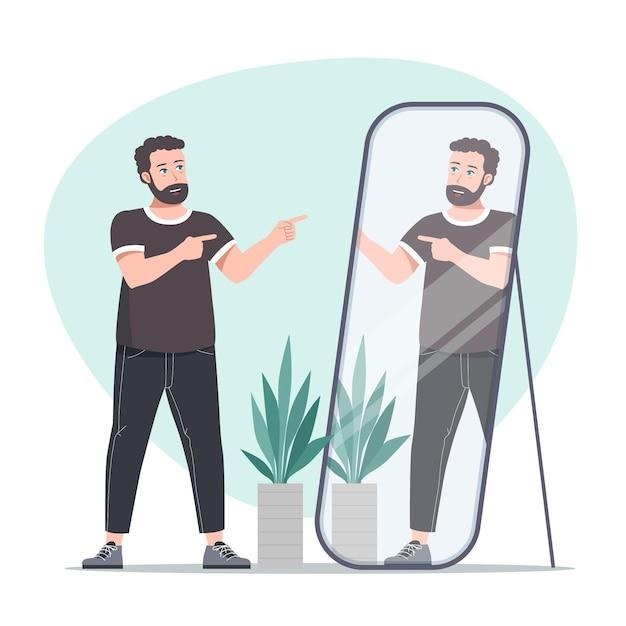 Hombre de alta autoestima mirando en el espejo vector gratuito