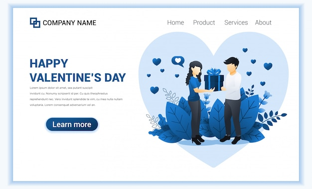 Hombre amoroso regalar a la mujer. pareja celebra el día de san valentín. Vector Premium