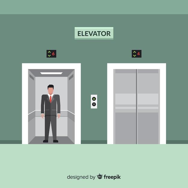 Hombre en ascensor Vector Premium