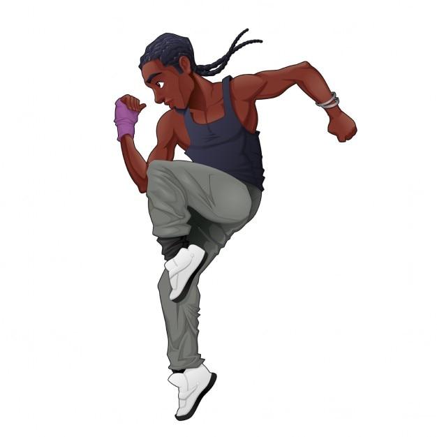 Hombre bailando breakdance vector gratuito