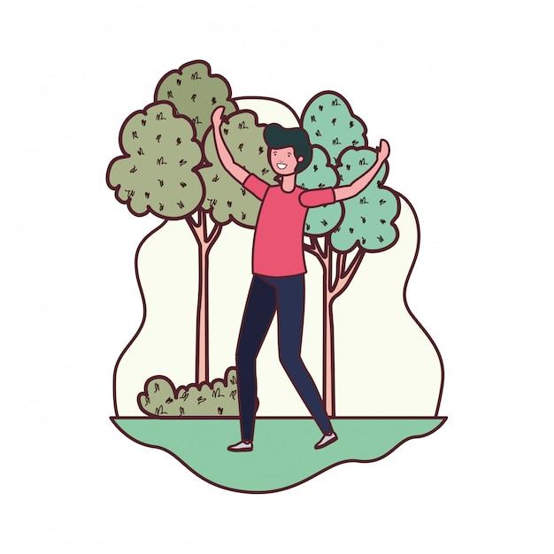 Hombre bailando en paisaje con arboles y plantas. vector gratuito